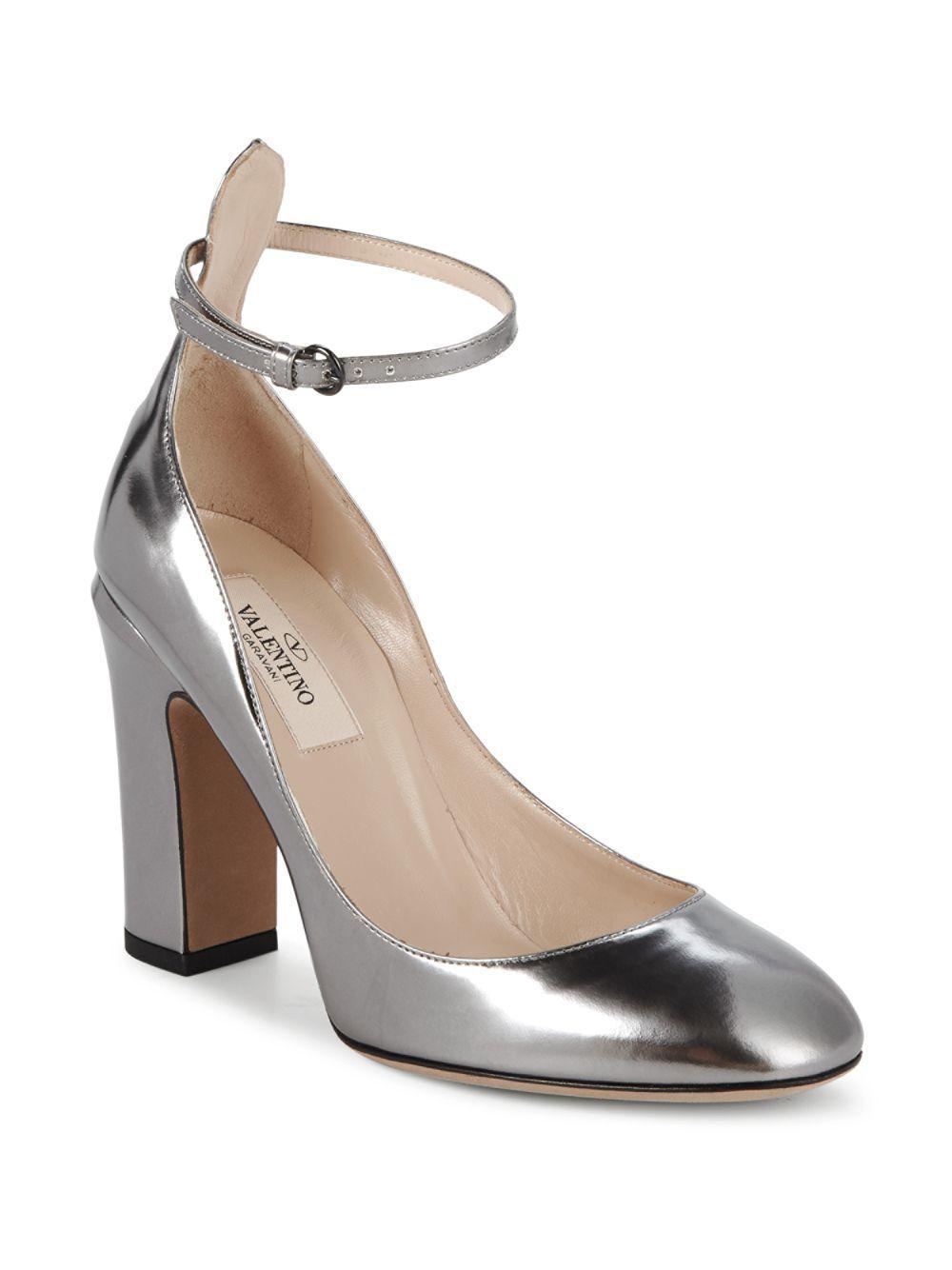 e864f223f120 Valentino - Metallic Tango Block Heel Leather Pumps - Lyst. View fullscreen