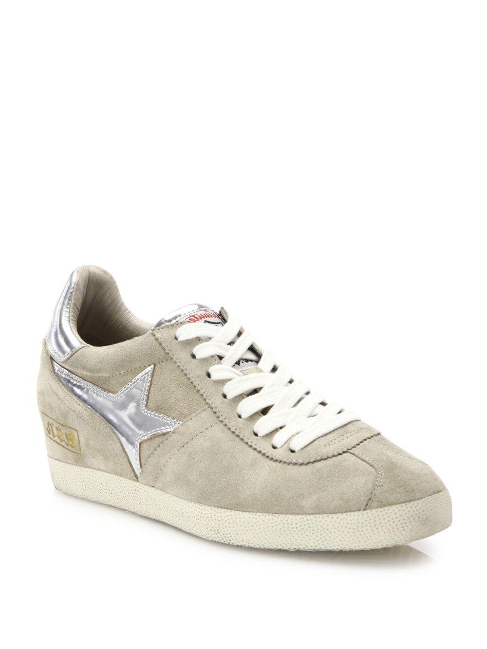 Ash. Women's Guepard Bis Suede & Metallic Leather Wedge Sneakers