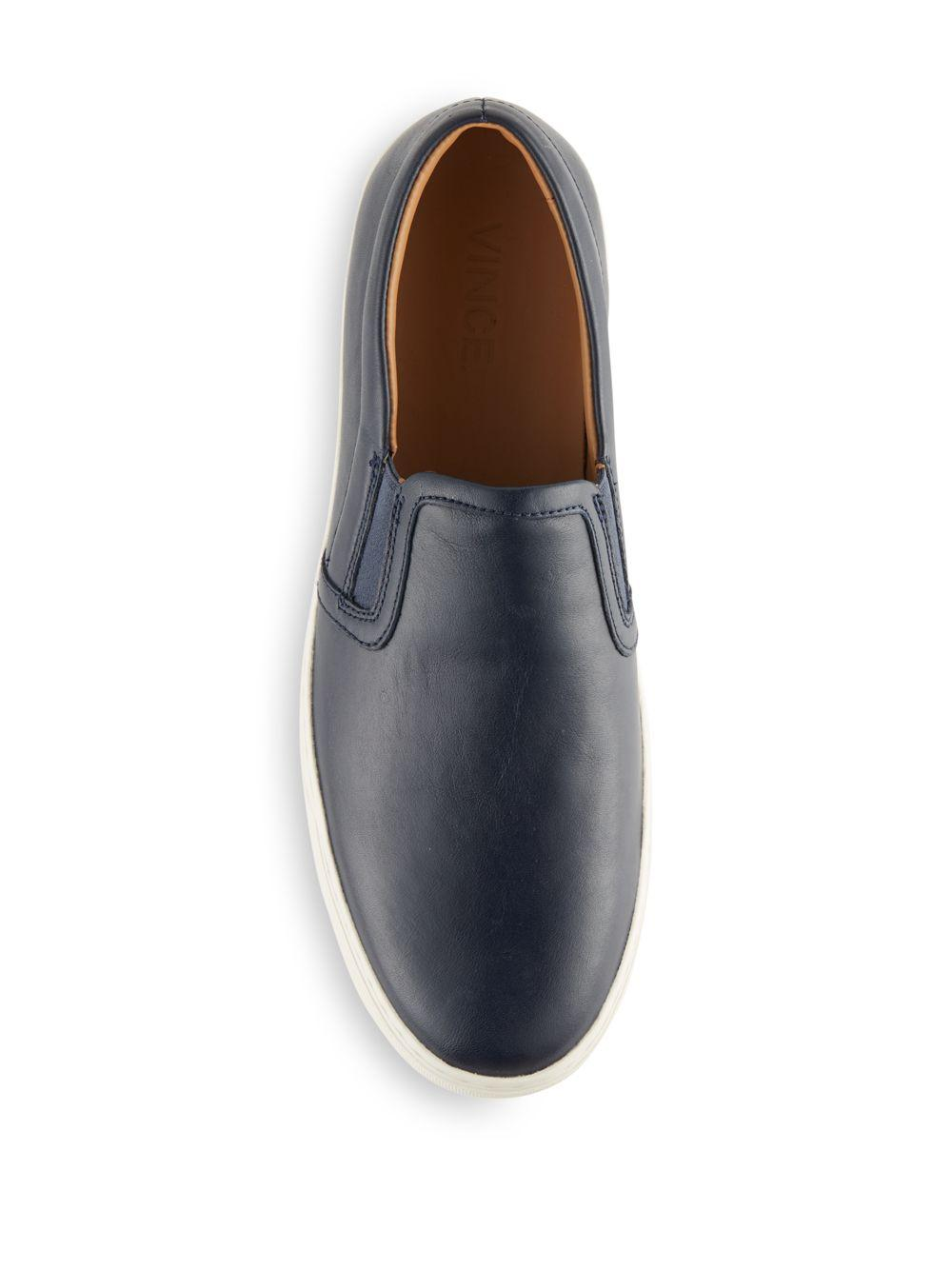 Vince Slip-on Leather Sneakers in Blue for Men
