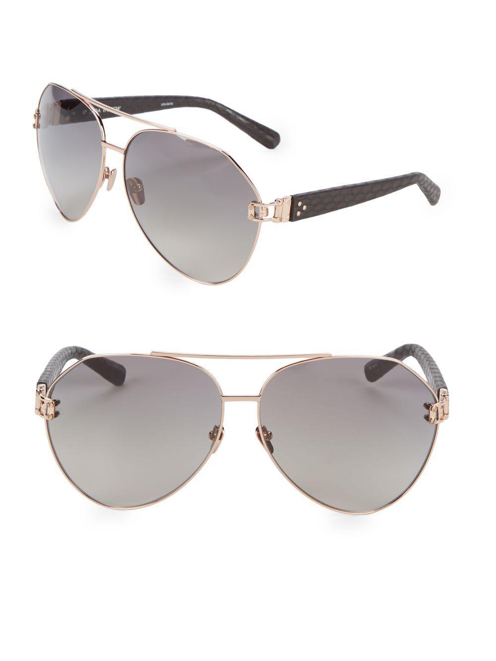 21240c925a4 Linda Farrow 60mm Snakeskin Arm Aviator Sunglasses in Metallic - Lyst