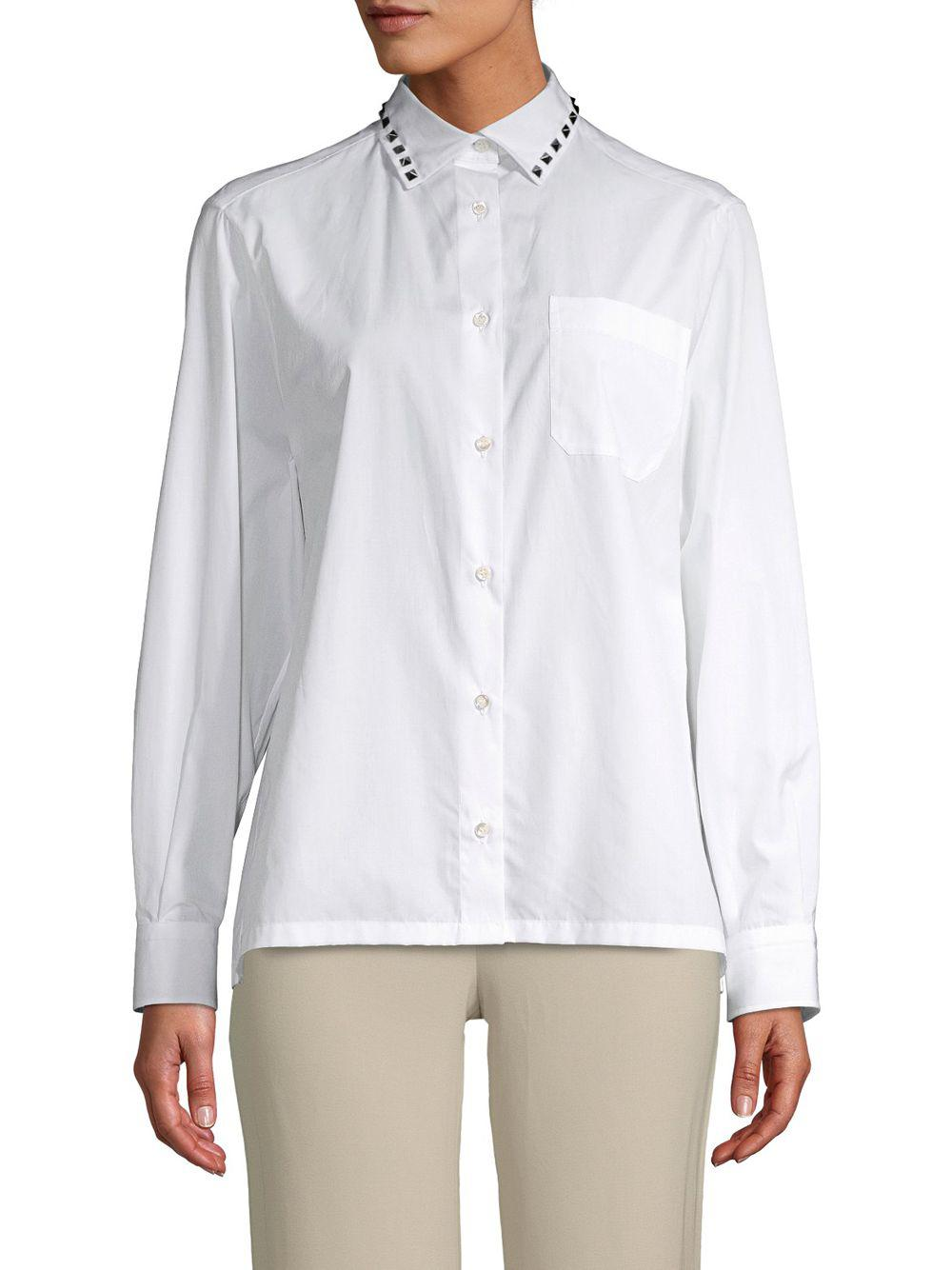 Valentino Embellished Cotton Button Down Shirt In Black Lyst