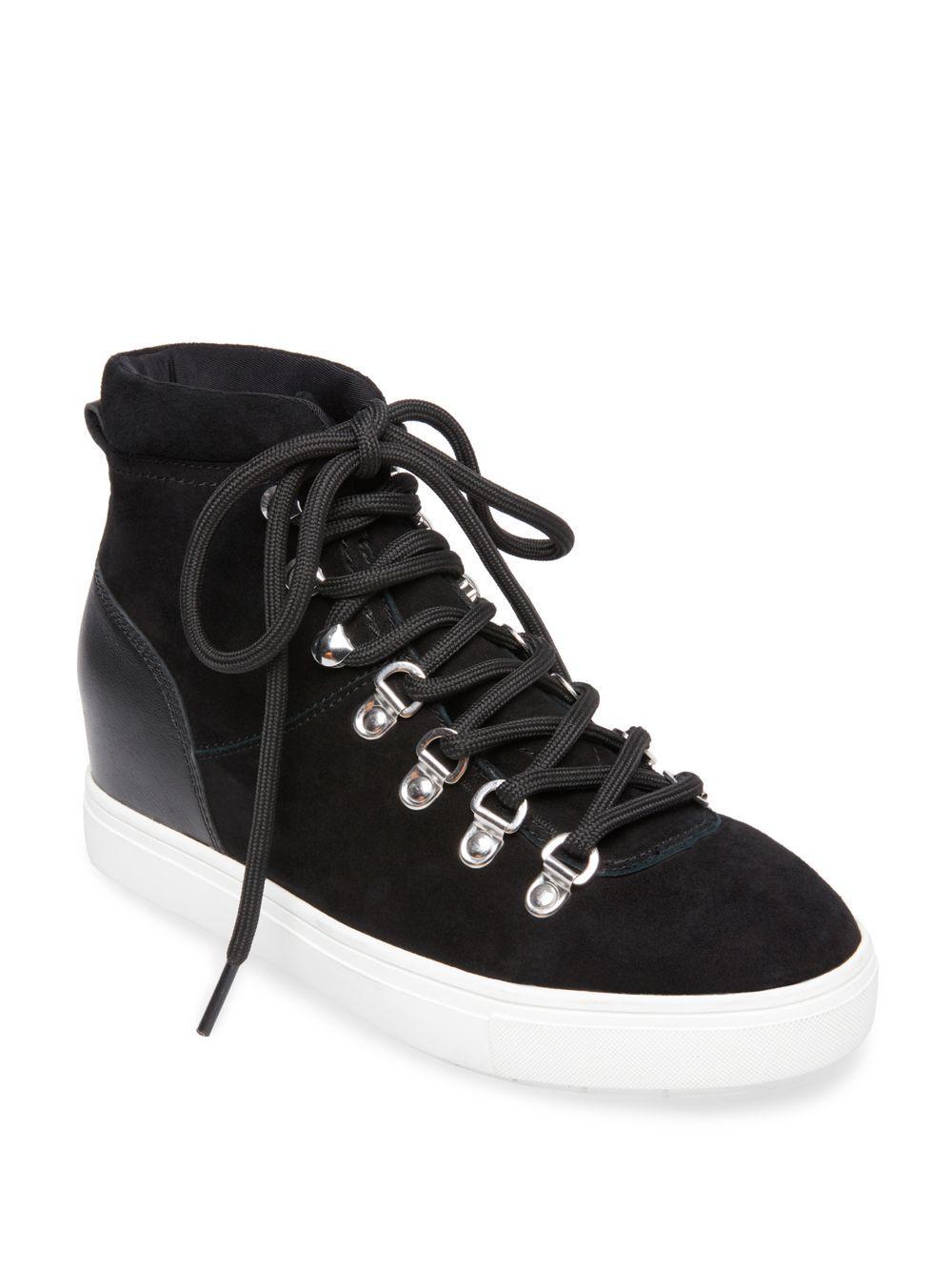 cf1d0de6a46 Women's Black Kalea Suede High-top Wedge Sneakers