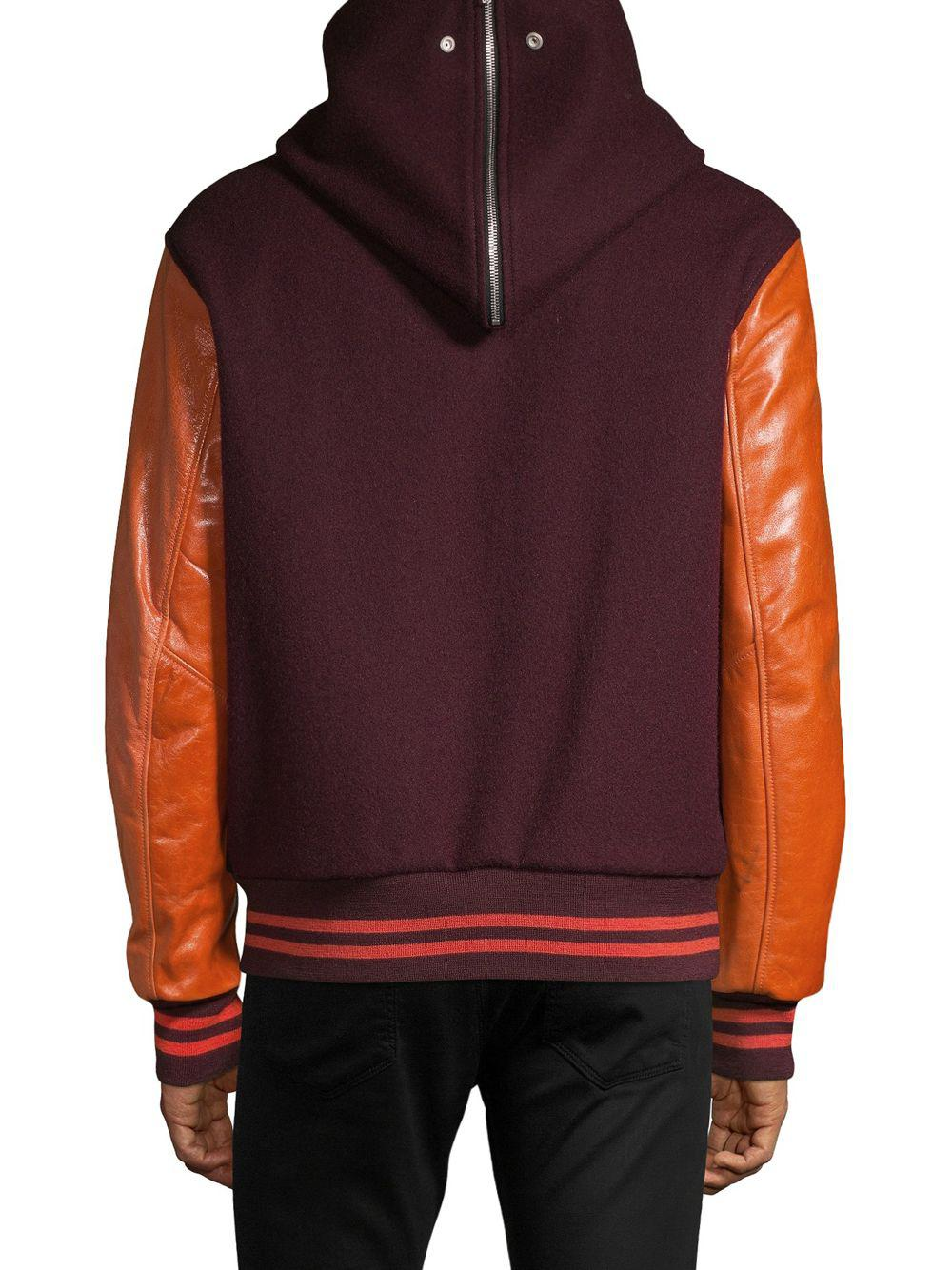 57a1ee521 Lyst - Maison Margiela Leather Sleeve Wool Bomber Jacket in Red for Men
