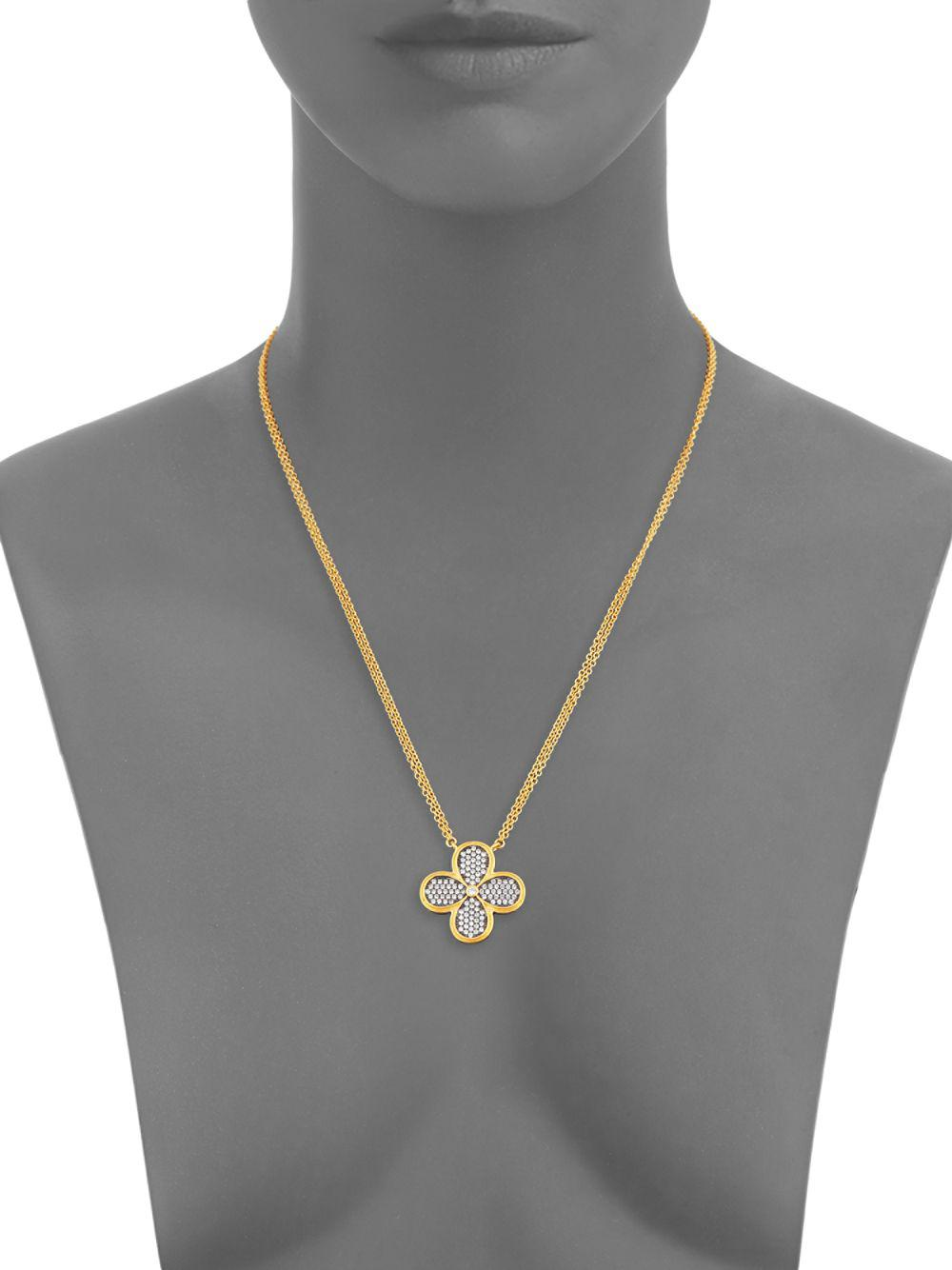 Freida Rothman Floral Pendant Necklace in Gold (Metallic)