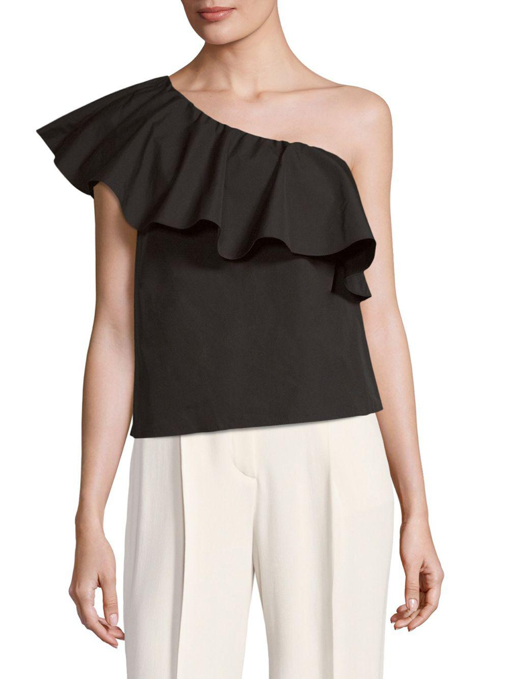Cheap In China Cheap Best Prices Alice+olivia Woman Calla One-shoulder Ruffled Cotton-poplin Top Black Size S Alice & Olivia U2ktM8