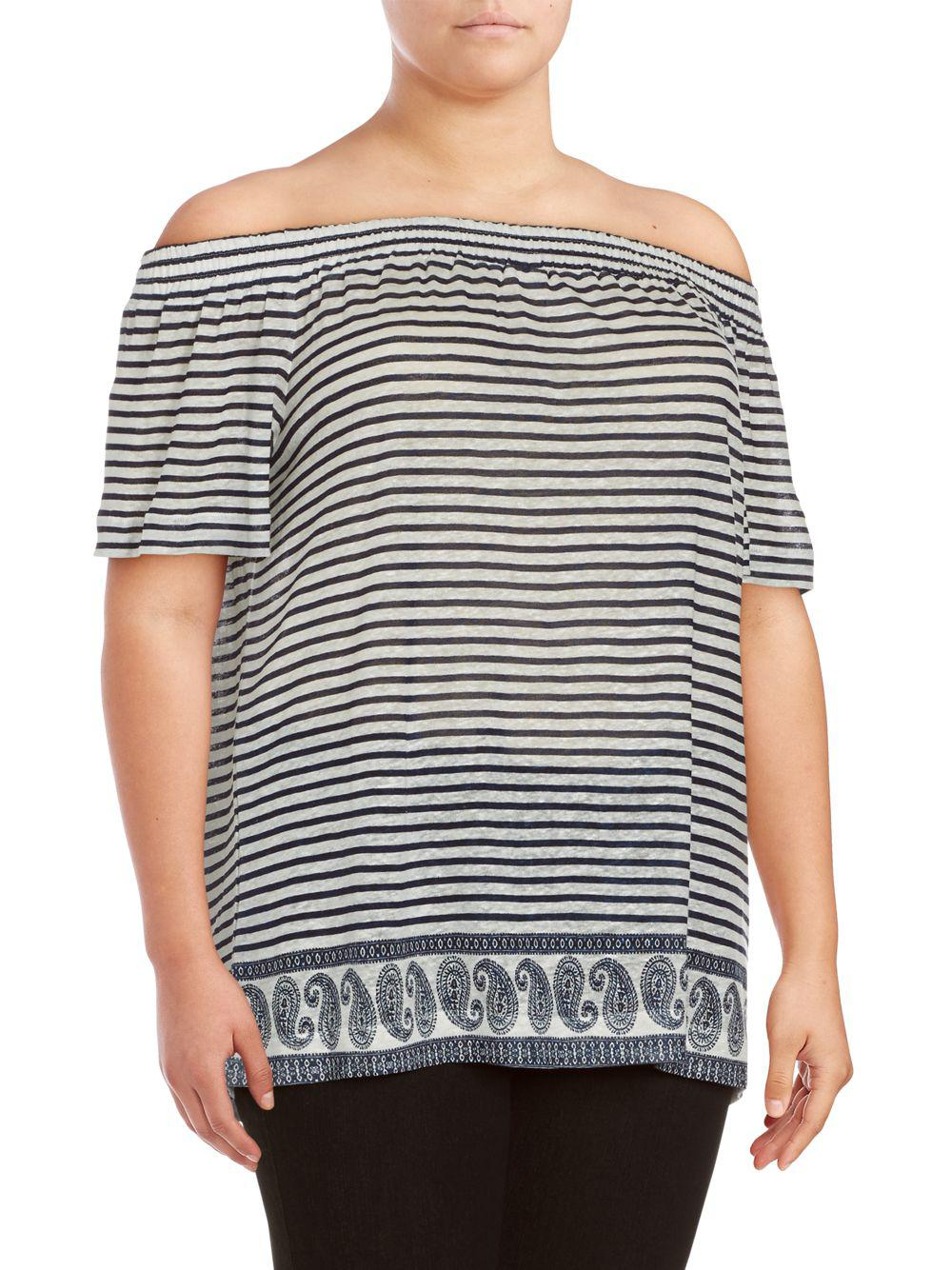 28e78cd1a8553 Vince Camuto Plus Size Striped Off-the-shoulder Top - Save 5% - Lyst
