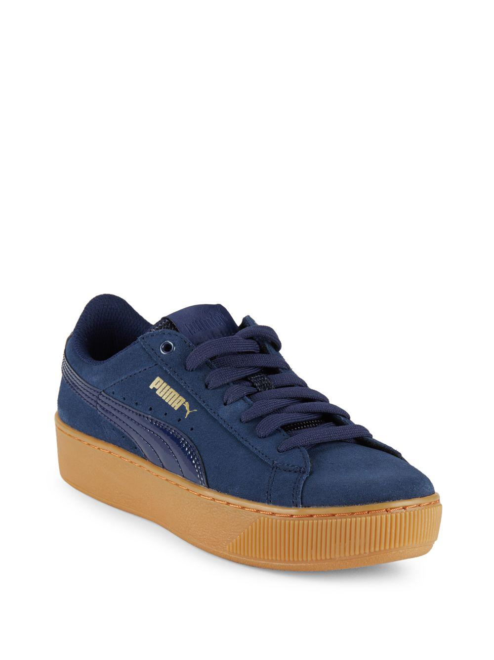 b832bff9441 Lyst - PUMA Vikky Leather-blend Lace-up Sneakers in Blue
