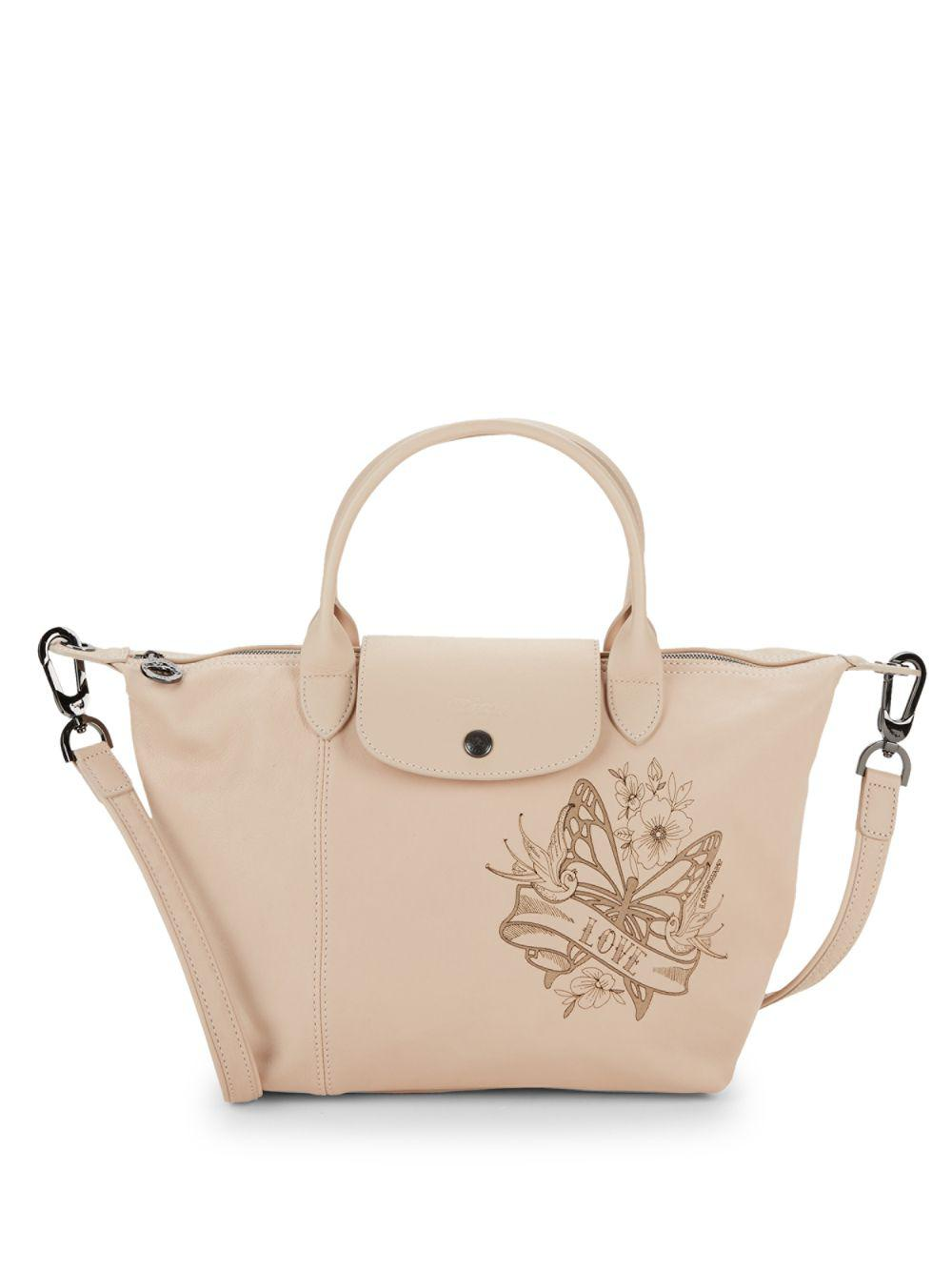 25701039d42f Longchamp Small Le Pliage Cuir Leather Top Handle Bag in Natural - Lyst