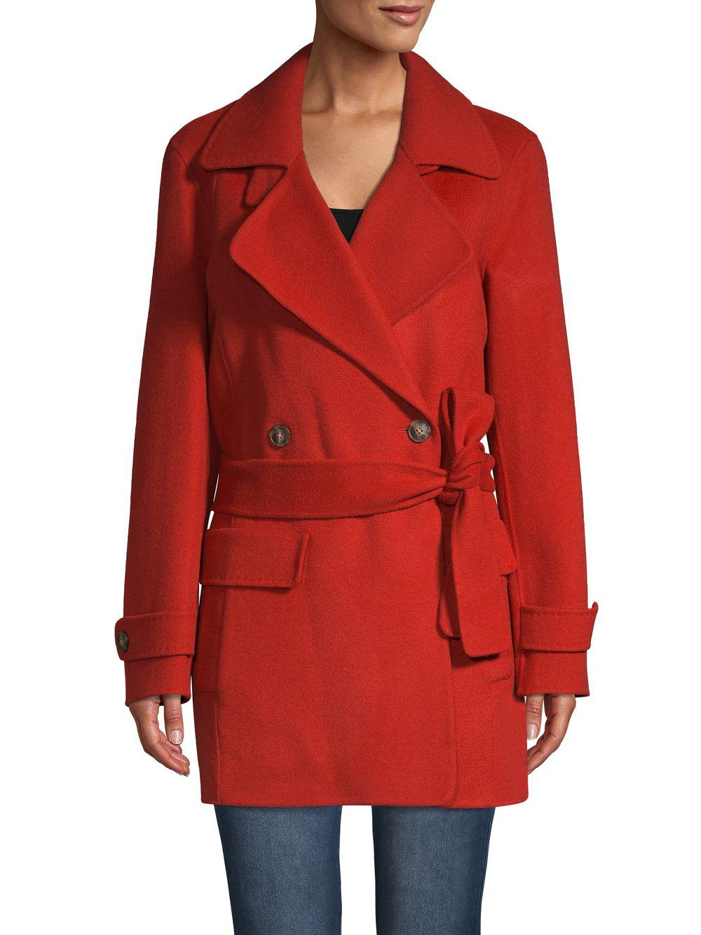Halston Heritage Self-tie Double-breasted Coat in Red - Lyst a1f473534