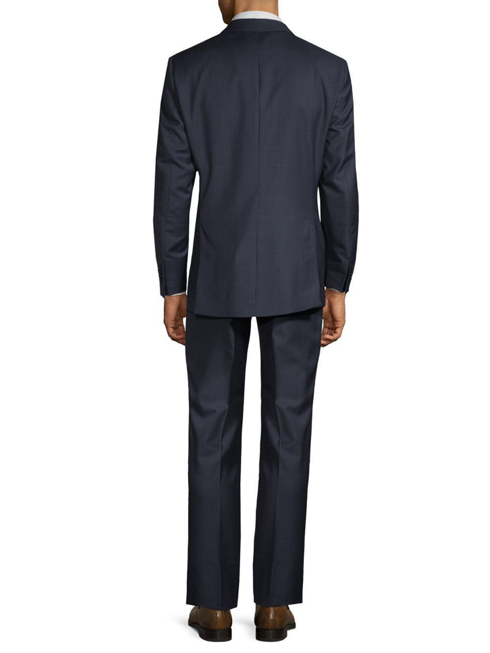 Saks Fifth Avenue Wool Windowpane Suit in Navy (Blue) for Men