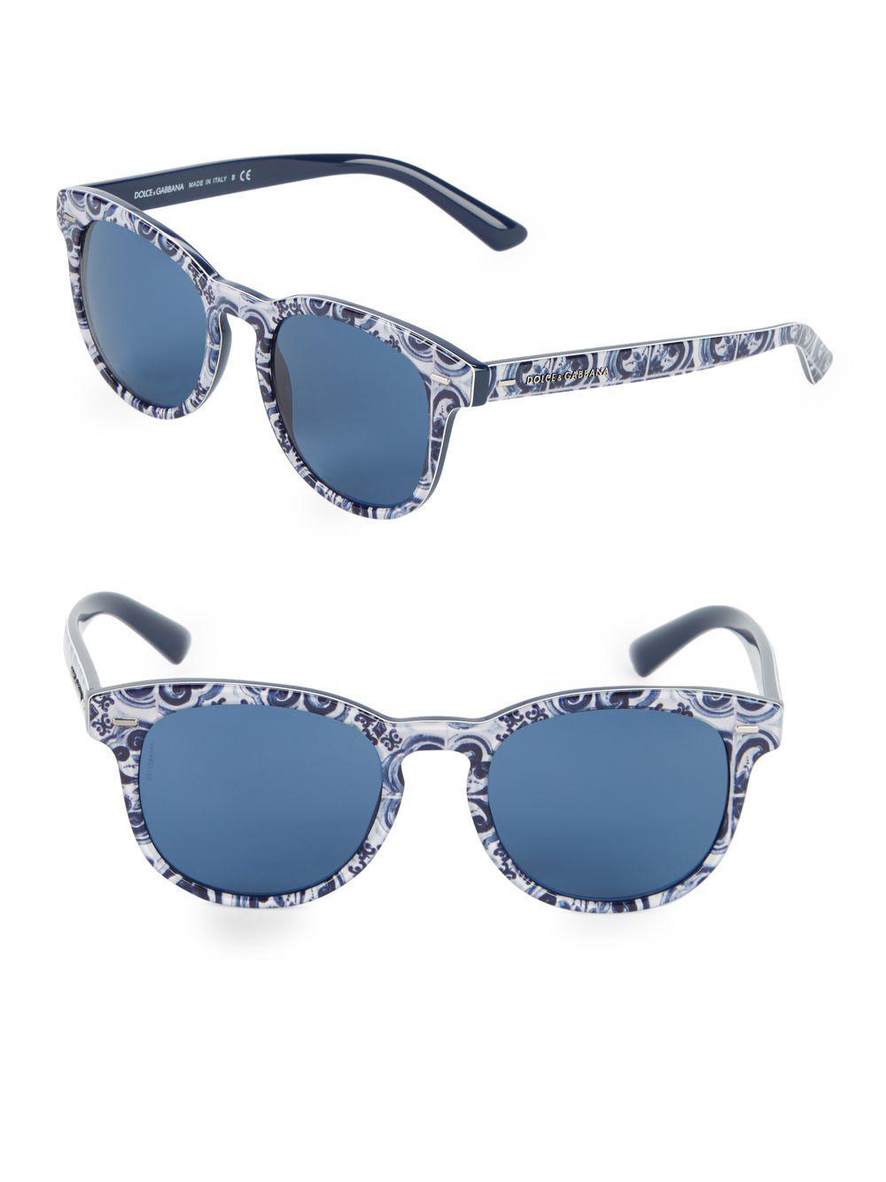 5b0a1f3d29b1 Dolce   Gabbana 51mm Scroll Tile Print Round Sunglasses in Blue - Lyst