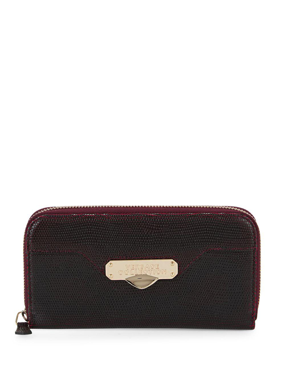 45935872be Lyst - Versace Textured Leather Zip-around Wallet in Black