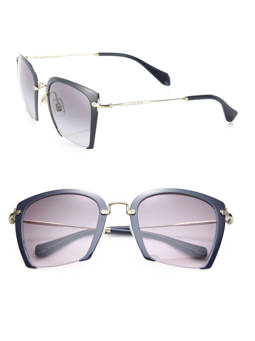 e0ff1563fd2e Miu Miu. Women s Blue 52mm Semi-rimless Acetate   Metal Square Sunglasses