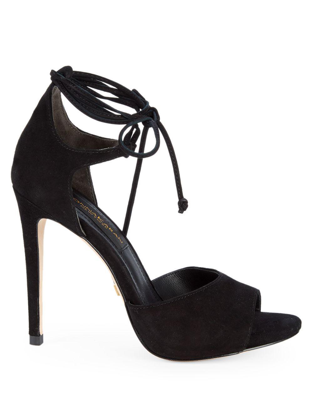 0bb880d6fb Donna Karan Suri Suede Ankle-strap High-heel Sandals in Black - Lyst