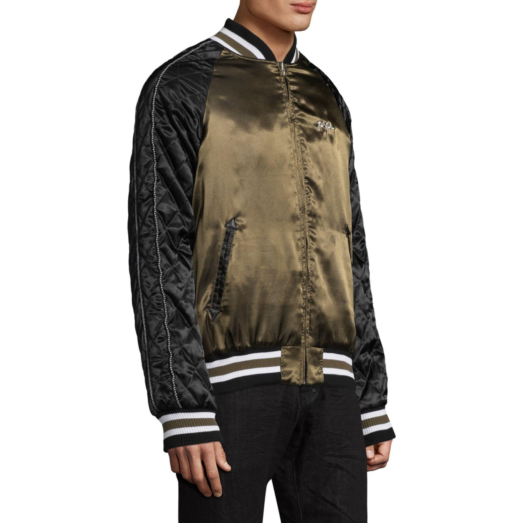 PRPS Synthetic Tiger Quilted Satin Bomber Jacket in Black for Men