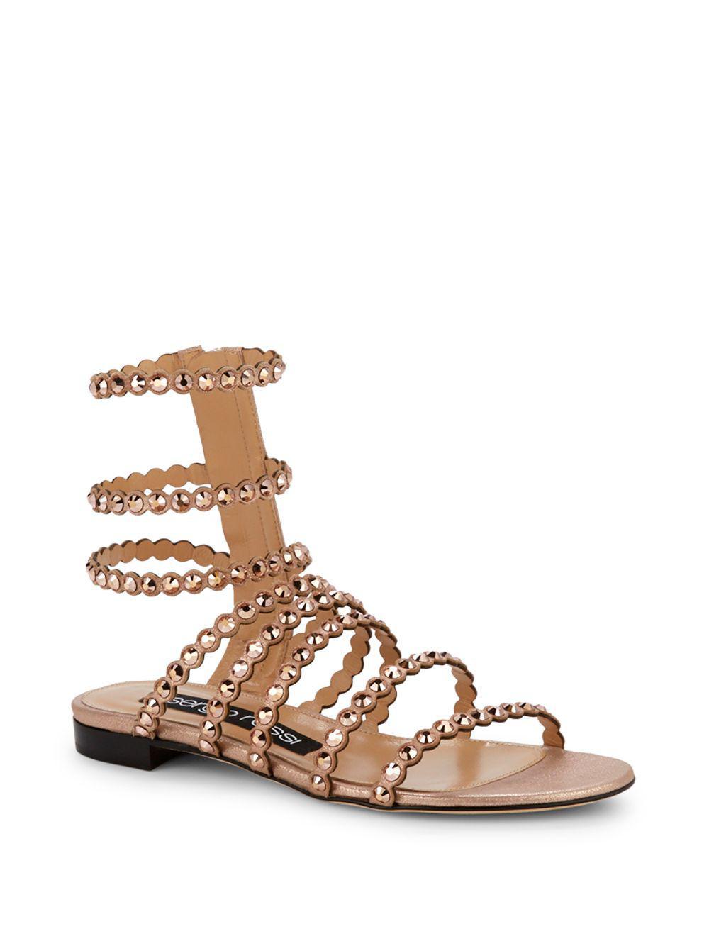 a3effbab3920 Lyst - Sergio Rossi Kimberly Suede   Jewel Gladiator Sandals - Save 10%