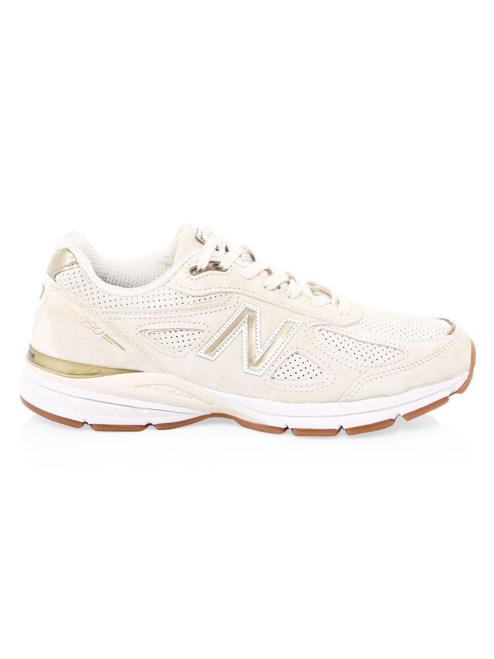 3cafb6bb296a0 New Balance 990 Suede & Mesh Sneakers in White - Lyst