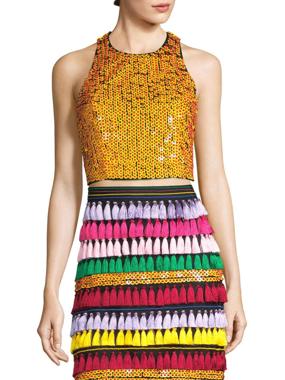 Alice + Olivia Sequined Angular Crop Top - Save 7% - Lyst