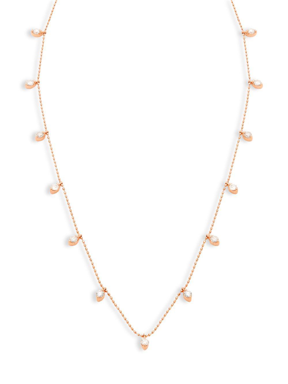 65a9de5153bc2 Lyst - Artisan 18k Rose Gold & Hanging Diamond Single-strand ...