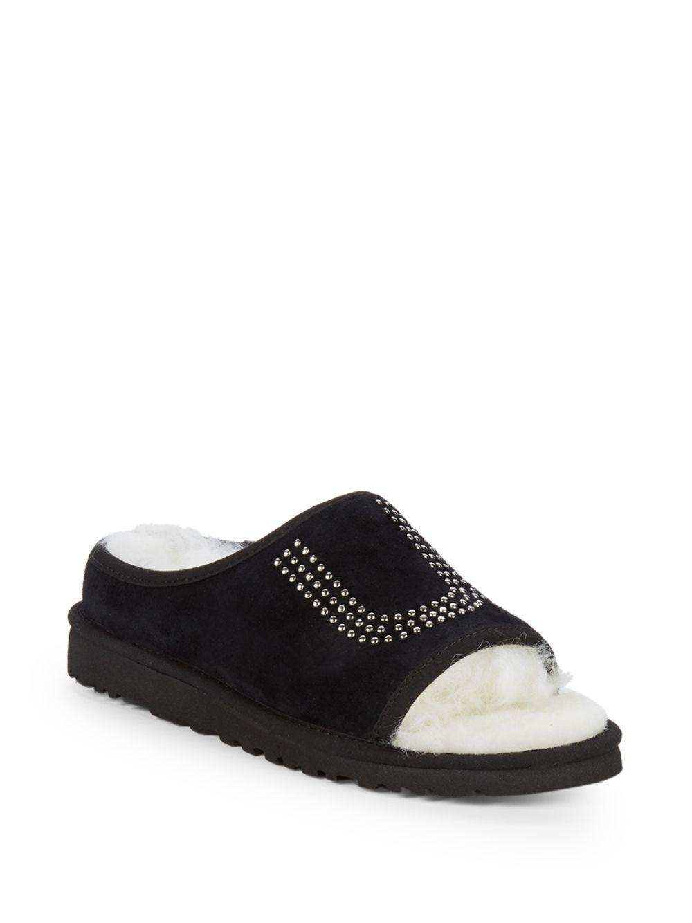 e9a054410ae Lyst - UGG Studded Dyed Shearling Slide Slippers in Black - Save 22%