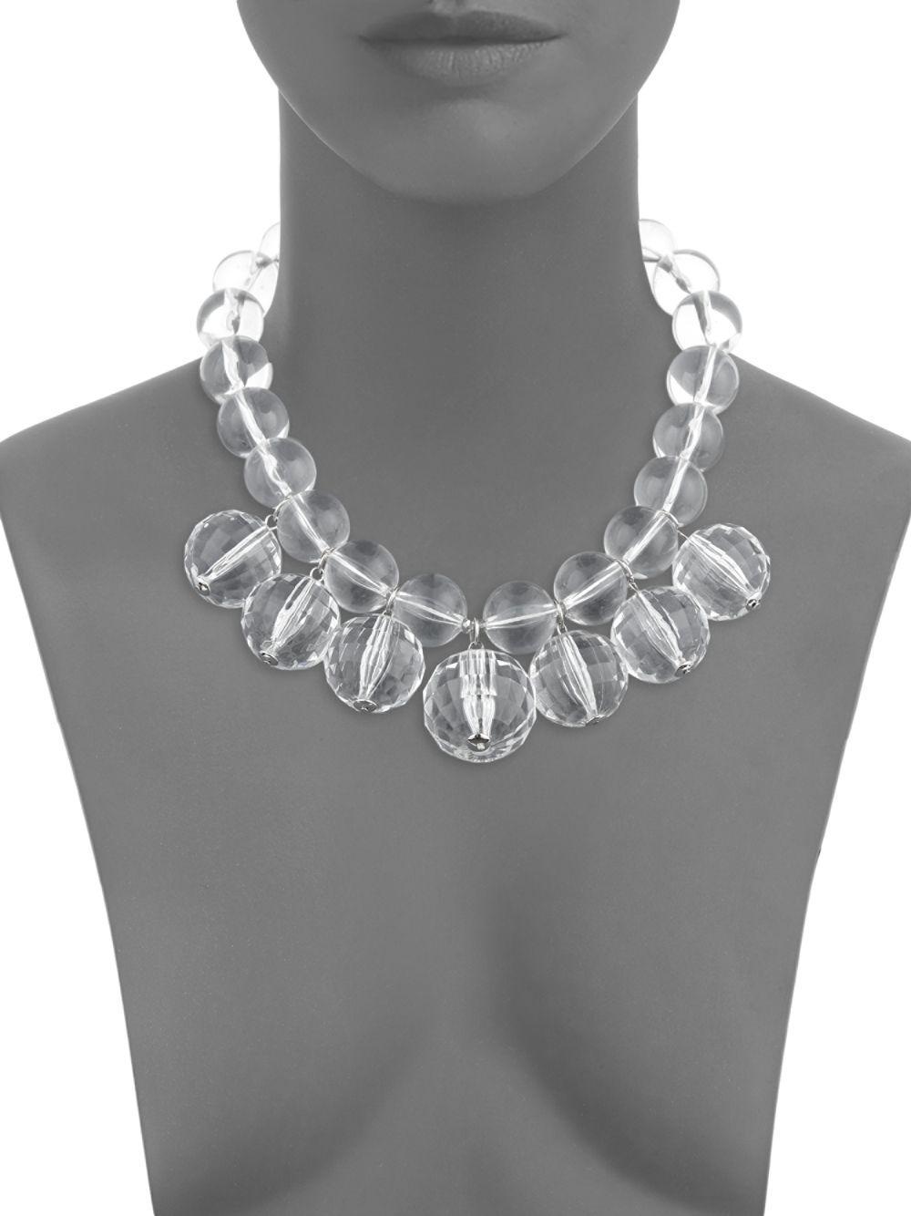 Natasha Couture Crystal Disco Ball Collar Necklace in Silver (Metallic)