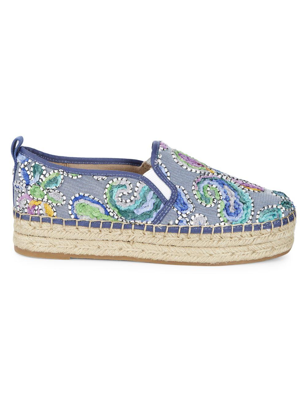 411214c18 Sam Edelman Carrin Embroidered Paisley Espadrilles in Blue - Lyst
