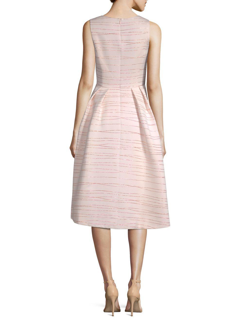 0ff20a1e95d7 Shoshanna Midnight Coraline Metallic Striped Jacquard Dress in Pink ...