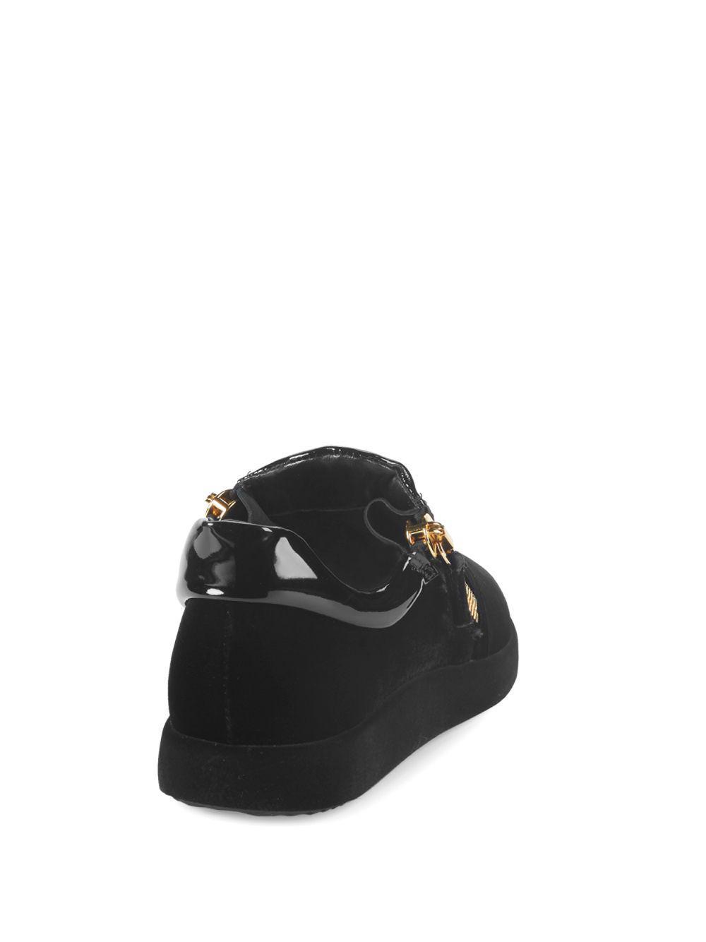 Giuseppe Zanotti Leather Double Zip Slip-on Sneakers in Black