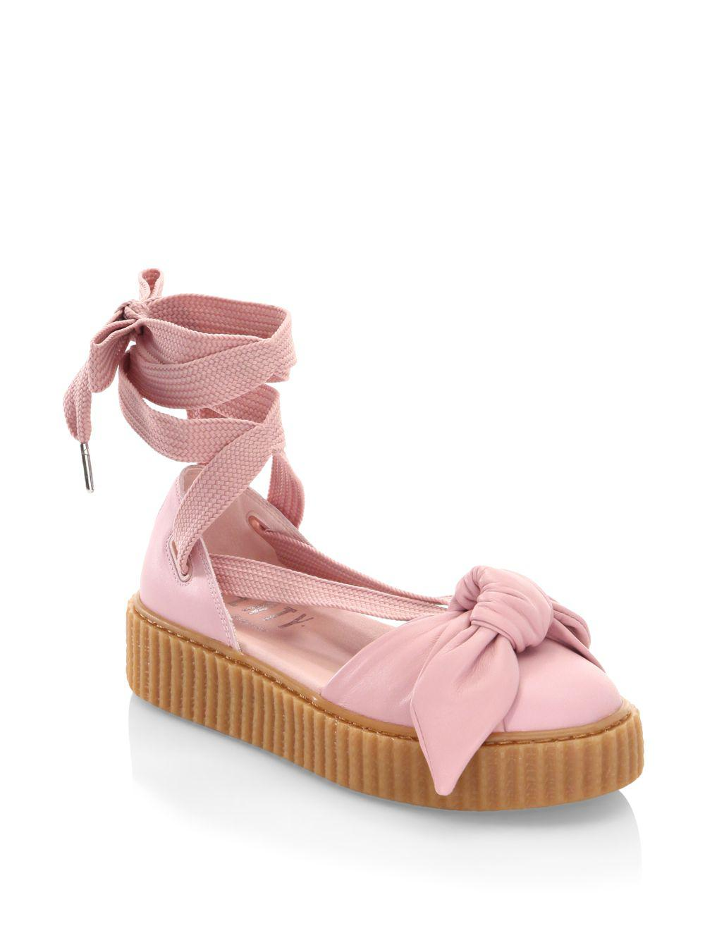 PUMA Bandana Leather Creeper Flats in Pink - Save 62% - Lyst 32998af86