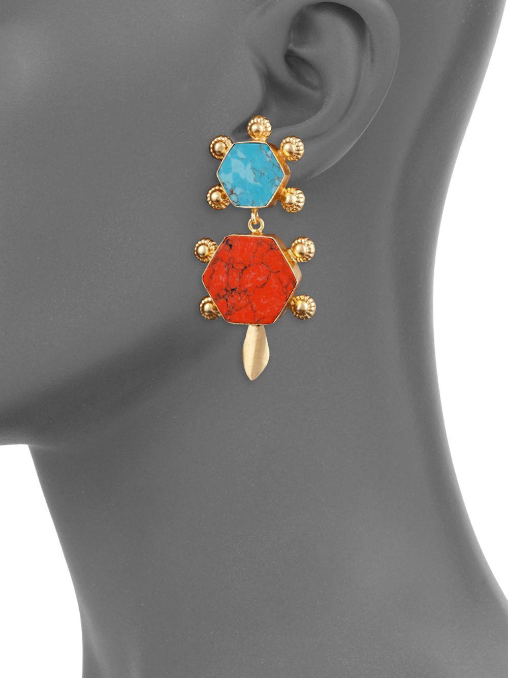 Kenneth Jay Lane Metallic Turquoise Statement Earrings Lyst View Fullscreen
