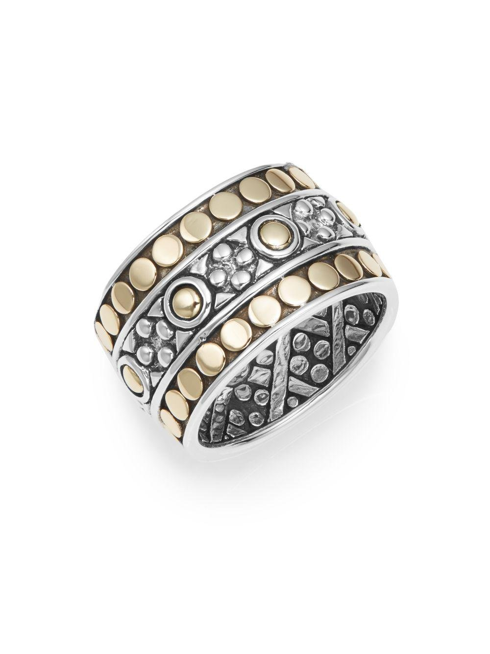 John Hardy Jaisalmer Dot Twisted Oval Ring, Size 7