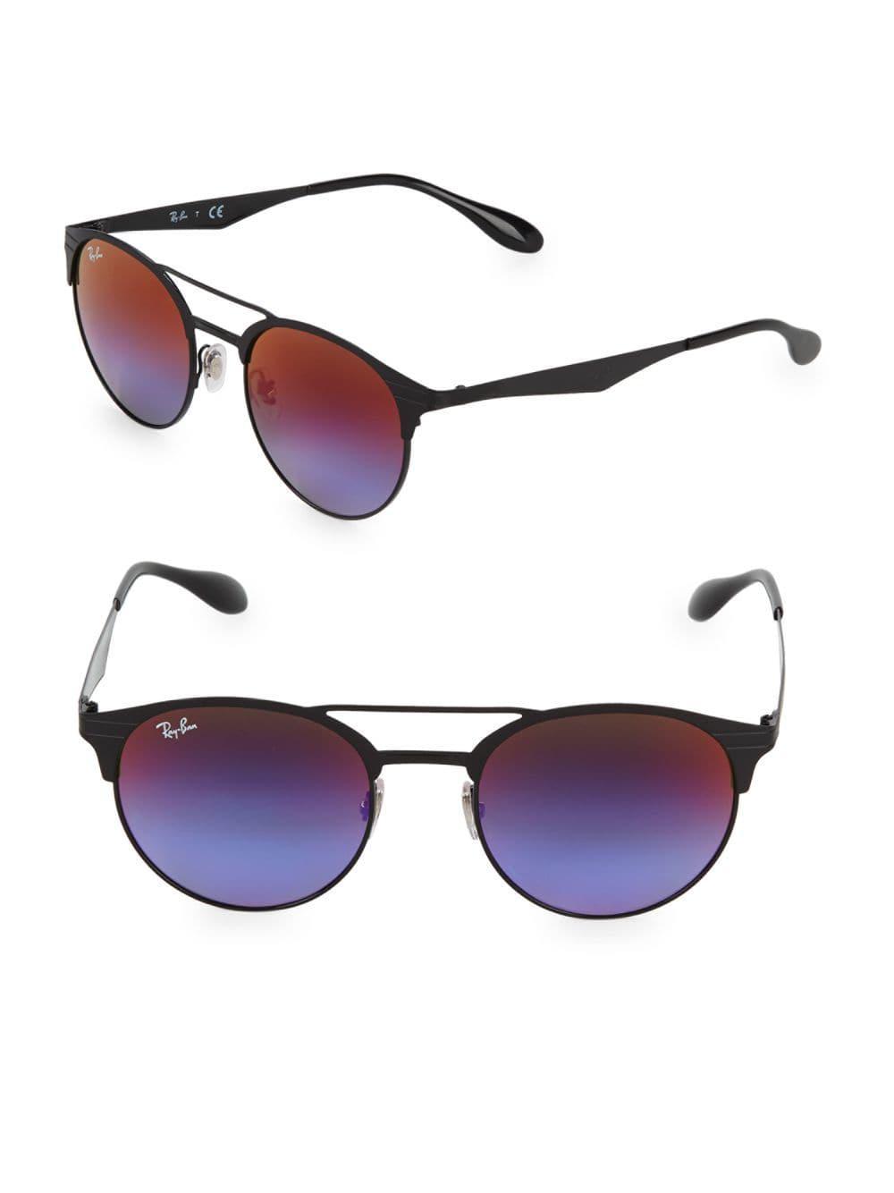 66de226e45e Ray-Ban 51mm Round Browline Sunglasses in Black - Lyst