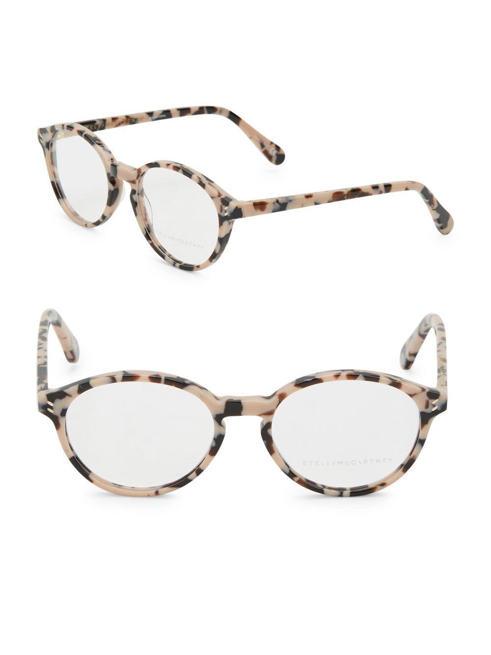 1ea7351d701 Lyst - Stella McCartney 51mm Tortoise Shell Round Optical Glasses in ...