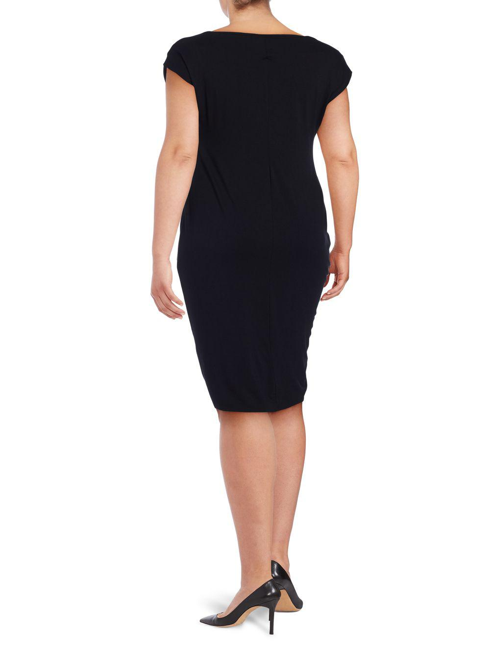 f6ef0b7e12f Vince Camuto - Black Plus Ruched Sheath Dress - Lyst. View fullscreen