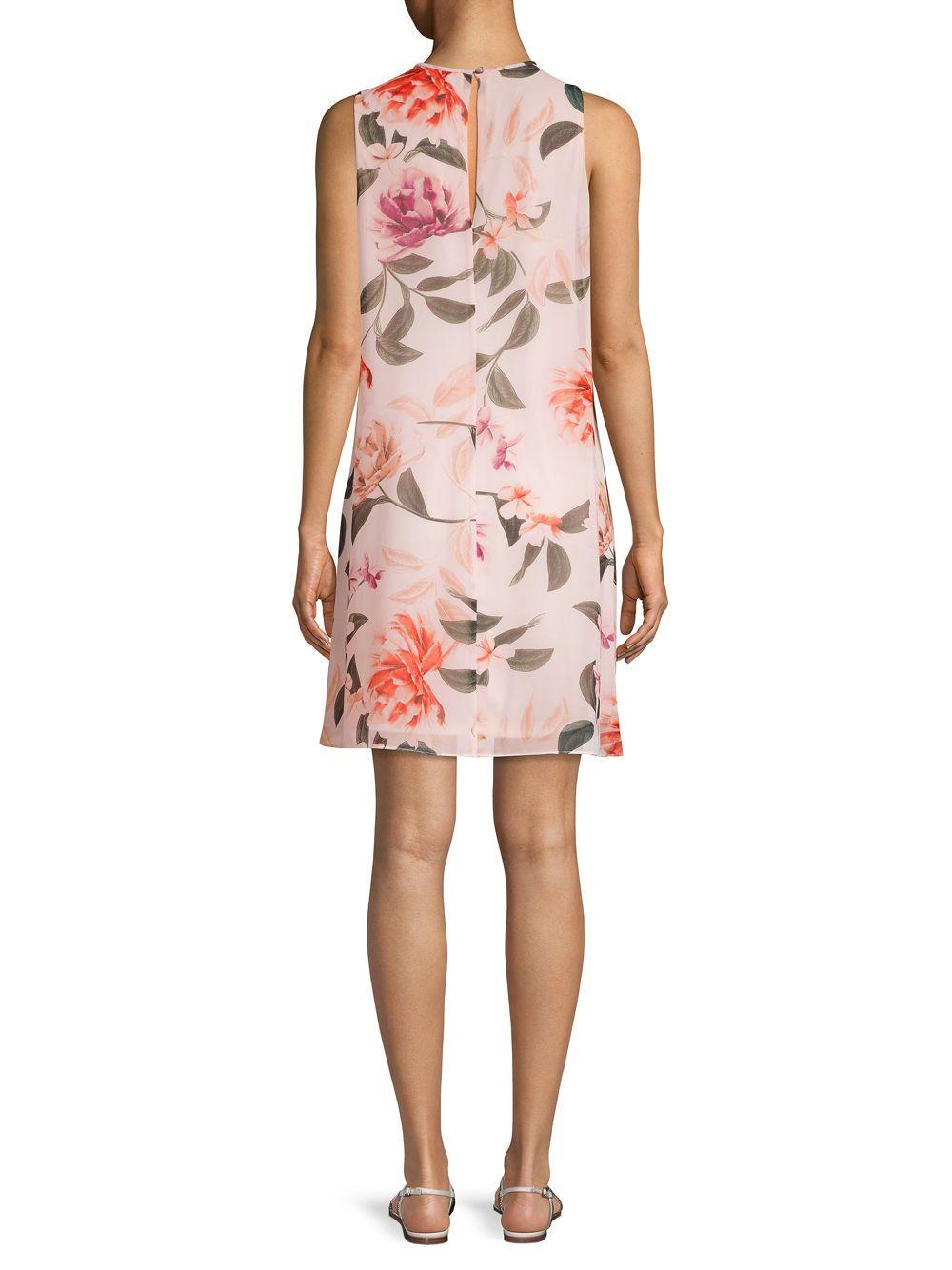 55088409d38 Calvin Klein - Pink Floral Sleeveless Shift Dress - Lyst. View fullscreen
