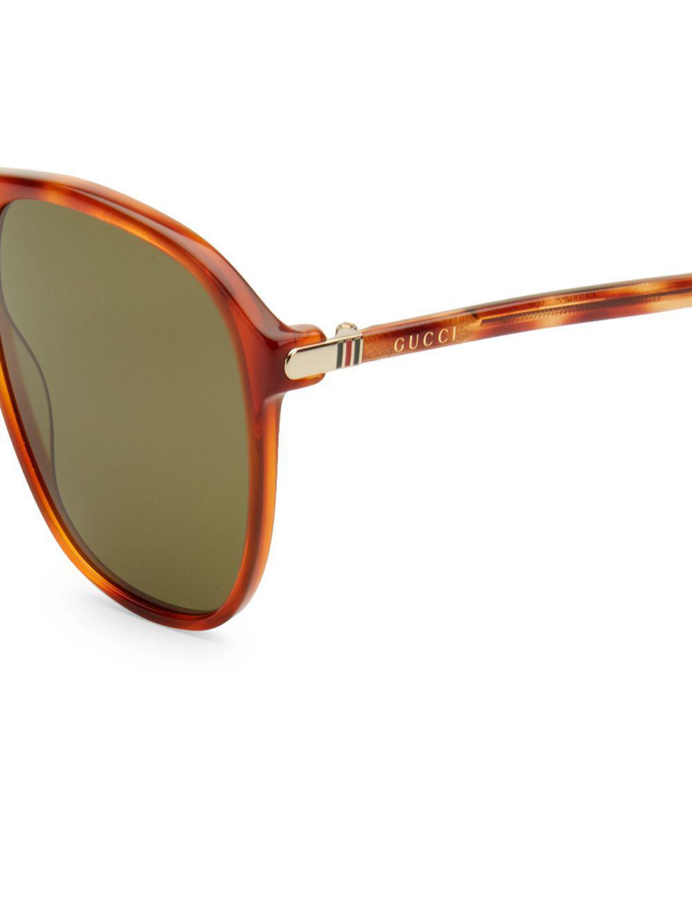 9b821263d Gucci Tortoiseshell 56mm Square Sunglasses - Lyst