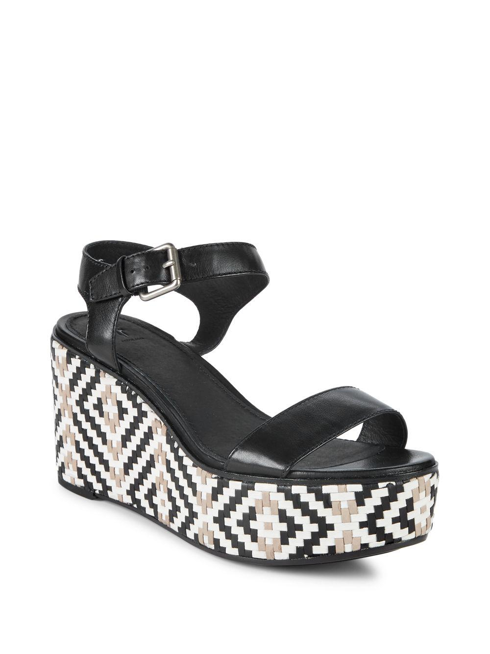 cb382fd2aee Frye Black Heather Woven Leather Wedge Sandals