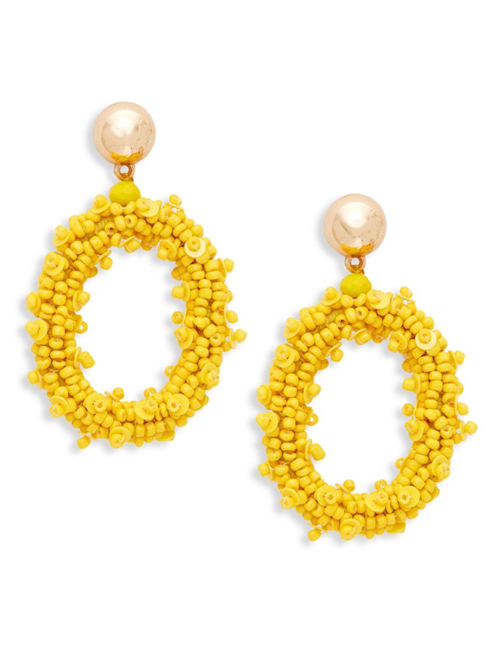 Ava Amp Aiden Goldtone Amp Seed Bead Oval Drop Earrings In