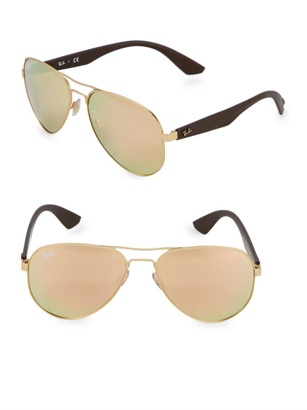 22faa489386 Lyst - Ray-Ban 59mm Aviator Sunglasses in Brown