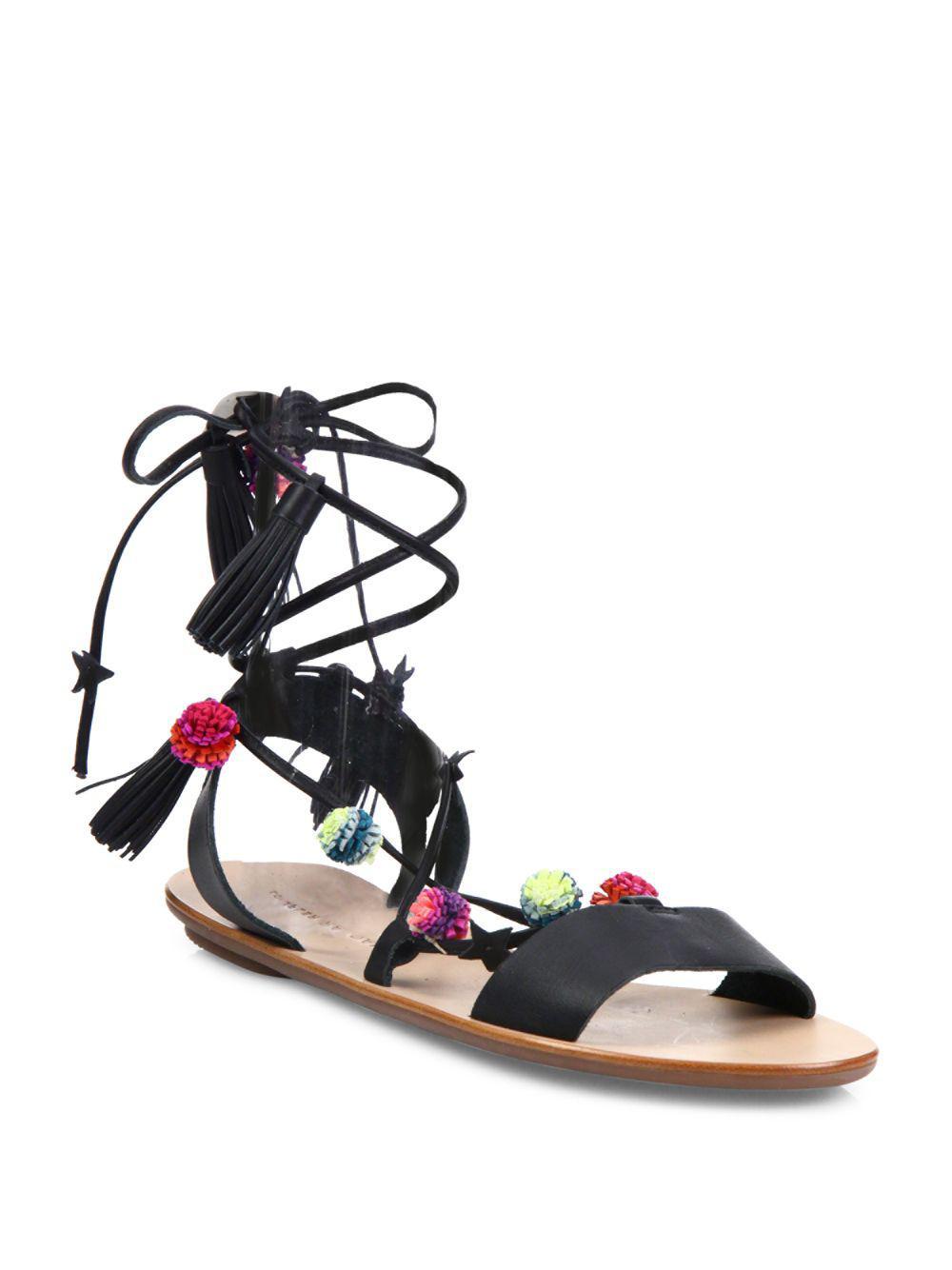 Lyst Loeffler Randall Suze Pom Pom Tie Sandals In Black
