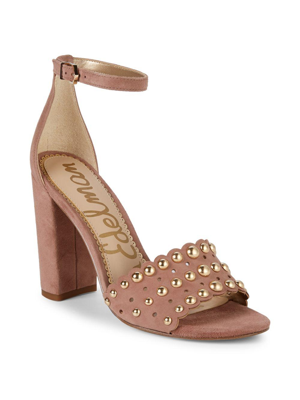 3460101f9 Lyst - Sam Edelman Yaria Studded Suede Block-heel Sandals in Brown