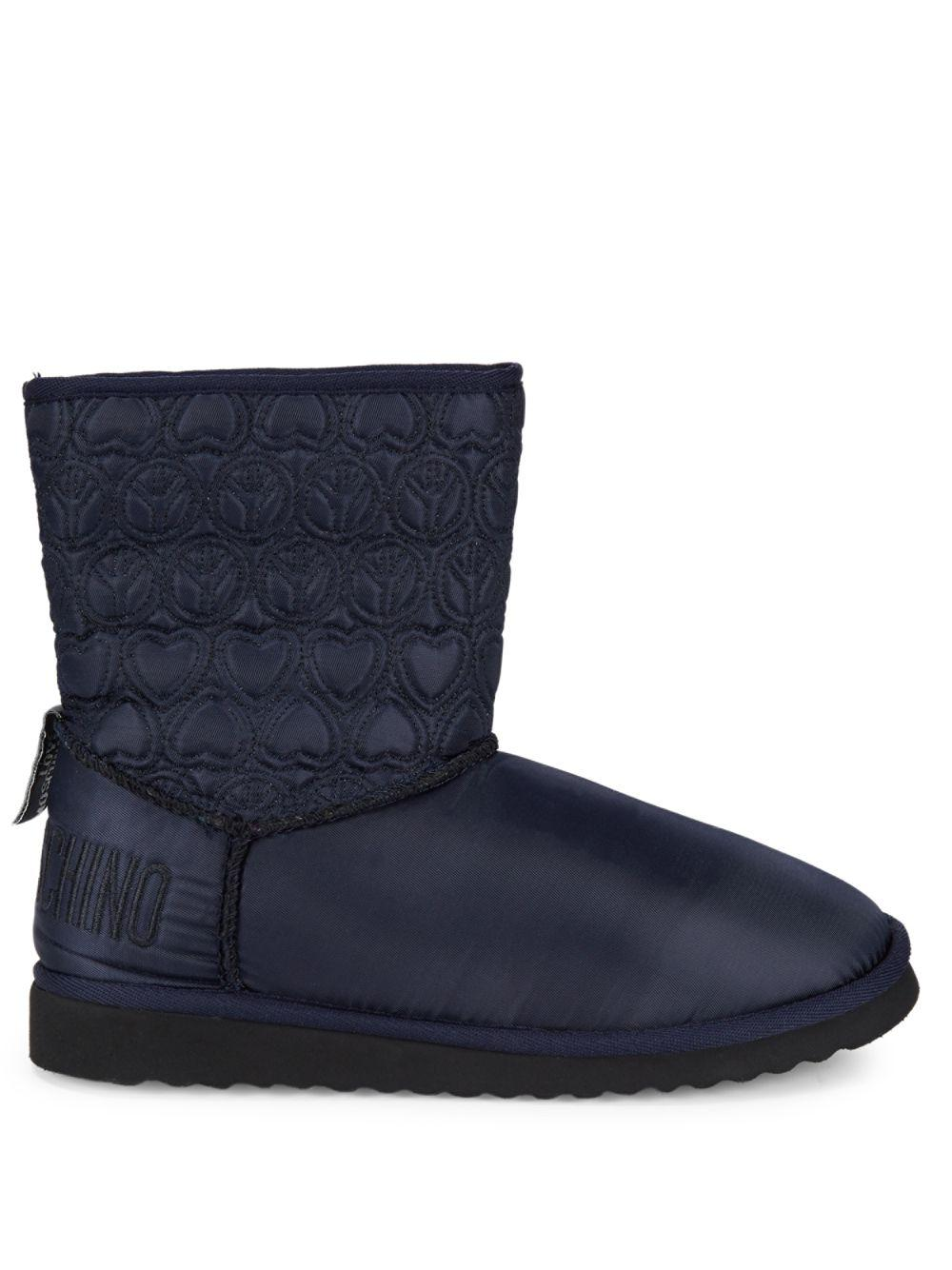 Love Moschino Faux Fur-lined Embroidered Booties in Blue