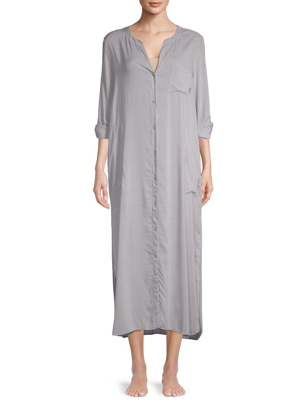 Lyst - Dkny Printed Split Neck Sleep Gown in Gray