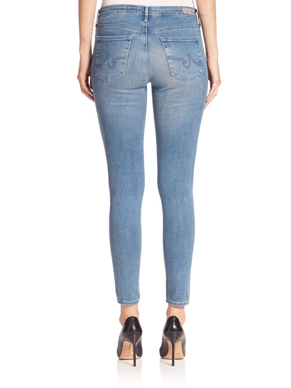 AG Jeans Denim Middi Distressed Ankle Jeans in Blue
