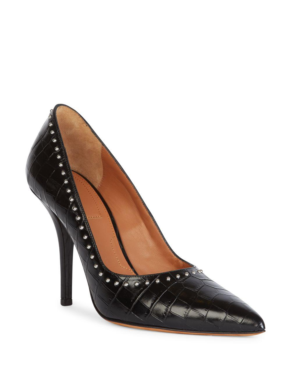eb9d28e4db1 Lyst - Givenchy Elegant Studded Croc-embossed Leather Point-toe ...