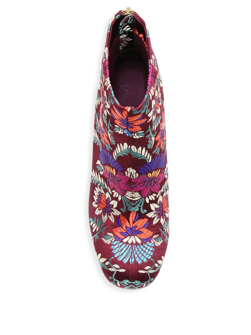 Joie Saleema Brocade Leather Ankle Boots in Plum (Red)