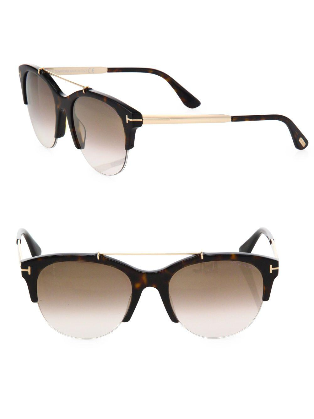 7a1ce8b0c0f Lyst - Tom Ford Adrenne 55mm Mirrored Round Sunglasses in Brown