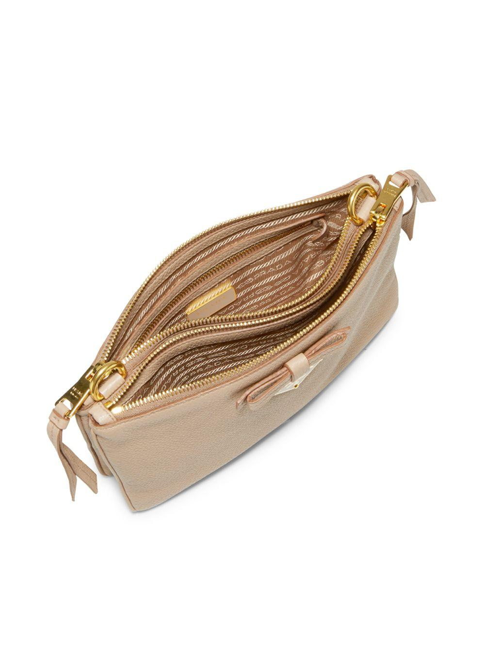 34992180e8ec Prada Bow Leather Crossbody Bag in Natural - Lyst