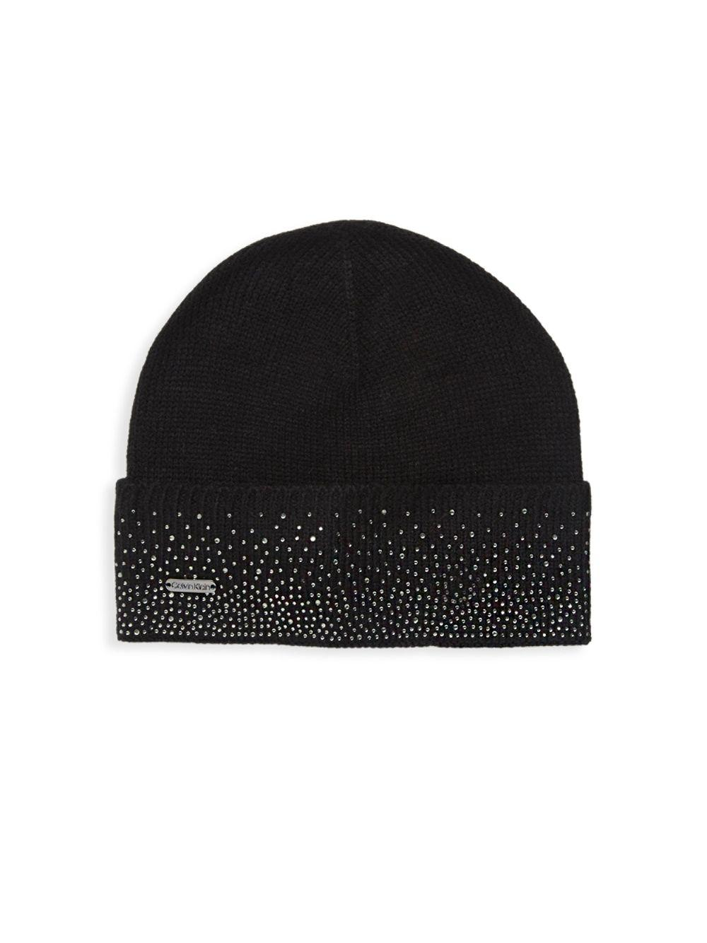 02aa200644b Lyst - Calvin Klein Ombre Crystal Beanie in Black - Save 63%