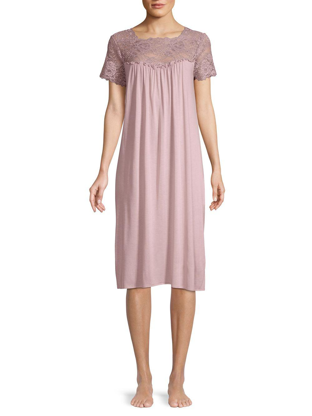 c0a2478ec2 Hanro Ruffled Lace Nightgown in Pink - Lyst
